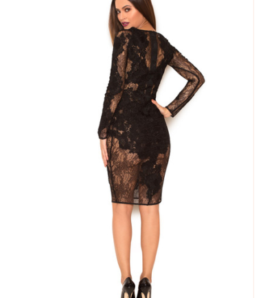 Black Floral Lace Bandage Dress