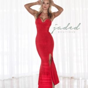 RED OPEN BACK LONG DRESS